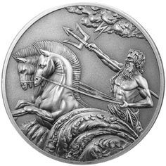 Poseidon, father of Pegasus and God of the Sea is depicted in this stunning design from Tokelau. Minted to the highest proof quality, Poseidon is shown emerging from the waves on his chariot pulled by two beautiful horses. His trident is defiantly raised to the sky where a lightening bolt is seen between the clouds.  This coin is a stunning addition to the Creatures of Myth & Legend series. .  Design by Alex Vorodeyev    Client: Treasures Of Oz