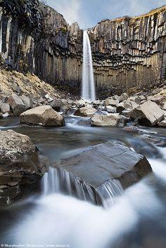 """Svartifoss """"Black Falls"""" in Skaftafell National Park, south Iceland by Skarpi from Flickr"""