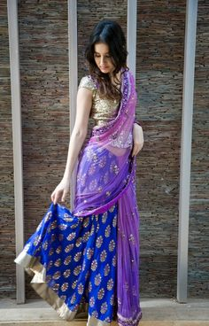 blue with pink #designer #lehengacholi -- I'd like to be traditionally dressed to know what it's like and learn!