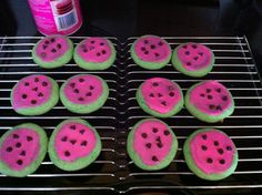 """Watermelon"" Cookies-  http://kellysrecipes.com/easy-watermelon-cake-mix-cookies"