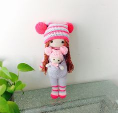 PRE-ORDER: Little Crochet Doll with Babies in pink hat