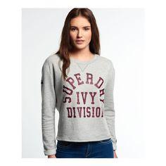 Superdry Tri League Crew Sweatshirt (58 CAD) ❤ liked on Polyvore featuring tops, hoodies, sweatshirts, crop top, crewneck sweatshirt, crew-neck sweatshirts, crew neck crop top and white sweatshirt
