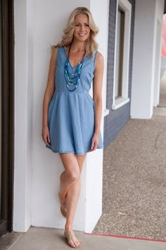 Living Doll clothing online Holiday Denim Blue Dress - Womens Short Dresses at Birdsnest Women's Clothing
