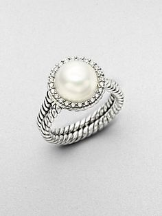 David Yurman White Pearl, Diamond & Sterling Silver Ring...obsessed