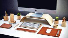 11 Chic Accessories For Your Desk   Harper's Bazaar — Grovemade monitor stand $79