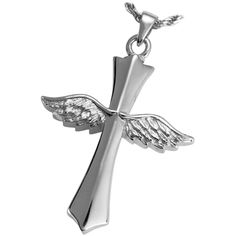 Silver Winged Cross Cremation Jewelry