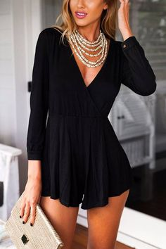 Black Wrap V-Neck Jersey Romper - good lord that is short... But it is cute
