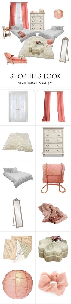 """pretty pink bedroom of an upper middle class pair of twins"" by filthangel ❤ liked on Polyvore featuring interior, interiors, interior design, home, home decor, interior decorating, Liz Claiborne, Warehouse, Down etc and Chanel"