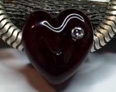 Deep Red Large Hole Heart Bead with CZ - Valentine's Day Gift - Lampwork Glass Charm fits size European Bracelet or Necklace - MTO Lampwork Glass Large Hole Deep Red Heart with cz fits Pandora bracelet by MoltenWrx Pandora Beads, Pandora Jewelry, Handmade Beads, Handmade Bracelets, Handmade Gifts, Valentines Day Gifts For Her, Perfect Gift For Her, Jewelry Making Supplies, Lampwork Beads