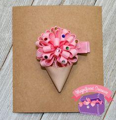 Arco de pelo de cono de helado rosa helado cono de pelo clip | Etsy