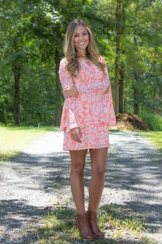 cute dress with bell sleeves! use code blossom1212 for 10% off your entire purchase at Juliana's Boutique!