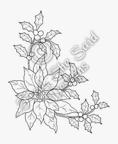 Fred, She Said - Digital Design & Papercrafting Goodness: NEW Poinsettia & Holly Christmas Poinsettia, Christmas Cards To Make, Christmas Colors, Christmas Art, Christmas Ornaments, Embroidery Stitches, Embroidery Patterns, Hand Embroidery, Painting Patterns