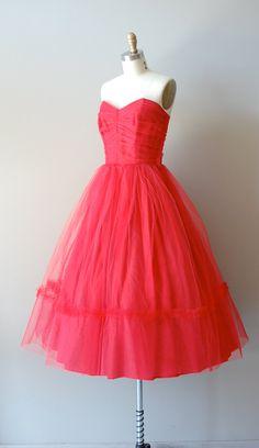 strapless tulle 50s dress