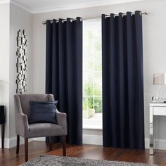 Fifth Avenue Venice Navy Blackout Eyelet Cortinas - Navy Curtains Bedroom, Blue Curtains Living Room, Navy Blue Curtains, Lounge Curtains, Curtains Dunelm, Navy Bedrooms, Navy Blue Living Room, Big Living Rooms, Grey Room