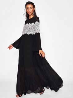 SheIn offers Contrast Lace Applique Trumpet Sleeve Flowy Dress & more to fit your fashionable needs. Romwe, Modest Dresses, Prom Dresses, Sleeve Dresses, Maxi Styles, Muslim Fashion, Lace Applique, Dress P, Types Of Sleeves