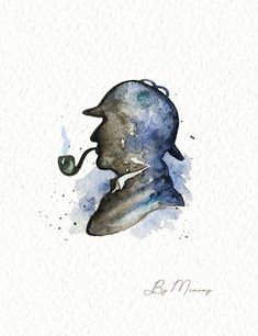 Watercolor silhouette of Sherlock Holmes - Tattoo Sherlock Bbc, Benedict Sherlock, Sherlock Fandom, Shinee Sherlock, Benedict Cumberbatch, Sherlock Holmes Costume, Sherlock Holmes Robert Downey, Sherlock Poster, Sherlock Holmes Quotes
