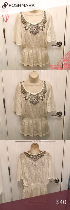 """EUC Miss Me Lace Beaded Top Get ready for gorgeous! Miss Me cream lace top with a beaded neckline in front and back. Ruched elastic waist to add some shape.  Size: Medium  78% acrylic, 14% wool, 8% spandex  Approximate Measurements: Bust: 42"""" Shoulders: 18"""" Sleeves: 18"""" Waist: 26"""" (with stretch) Hips: 42"""" Length: 24"""" Miss Me Tops"""