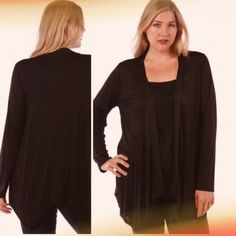 ASYMMETRICAL HEM ESSENTIAL CARDIGAN Basic black open cardigan with asymmetrical hem. Long enough to cover those problem areas! 95% rayon, 5% spandex. Made in USA NWOT tla2 Other