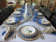 """This is the last of Pat's weekly """"sea"""" themed tables. It's been quite a challenge for her coming up with different looking tables while usin. Wooden Chargers, Table Manners, Glass Candle Holders, Northern California, Tablescapes, Table Settings, Table Decorations, Seaside, Floral Design"""