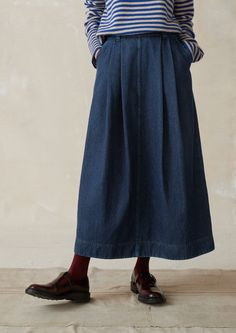 30af08a94 Indigo Denim Skirt | TOAST Skirts With Pockets, Full Skirts, Denim Skirt,  Midi