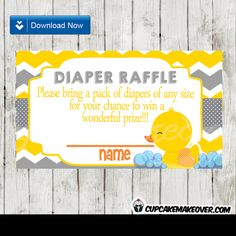 Printable Yellow and Grey Chevron Rubber Duck Baby Shower Diaper Raffle Tickets. #cupcakemakeover