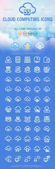 55 Cloud Computing Icons