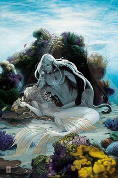 Répertoire Image Fantasy - Page 413 Elfen Fantasy, 3d Fantasy, Fantasy Kunst, Fantasy World, Illustration Fantasy, Creation Art, Mermaid Fairy, Mermaid Book, Mermaids And Mermen