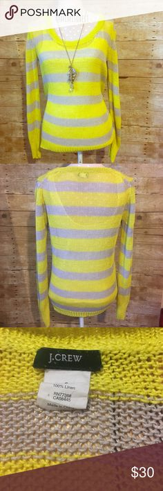 """J. Crew open-stitch sweater J. Crew size small, 100% linen, open stitch sweater. Perfect colors for spring. Preloved but in great condition. Only signs of wear is if you turn it inside out there's a pull, however, it isn't noticeable on the outside. Approx. 24"""" long, 17"""" wide armpit to armpit. *last pic is stock pic from j.crew of same item in different color. J. Crew Sweaters Crew & Scoop Necks"""