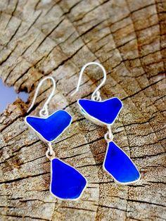 Blue Saphire Seaglass earrings #tamarindo #costarica #jewelry #designers #seaglass #wedding