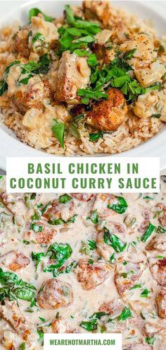 Coconut Curry Sauce, Thai Coconut Curry Chicken, Thai Basil Chicken, Best Chicken Curry Recipe, Cooking Recipes, Healthy Recipes, Oven Recipes, Healthy Meals, Chicken