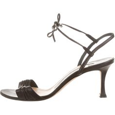 Pre-owned Manolo Blahnik Pleated Leather Sandals (€78) ❤ liked on Polyvore featuring shoes, sandals, black, ankle strap shoes, tie shoes, leather sandals, leather shoes and manolo blahnik sandals