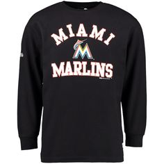 Miami Marlins Stitches Wordmark Thermal Long Sleeve T-Shirt - Black - $30.39