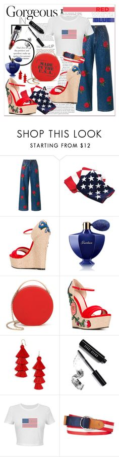 """""""Made in USA"""" by ela79 ❤ liked on Polyvore featuring Ashish, Gucci, Guerlain, Eddie Borgo, BaubleBar, Bobbi Brown Cosmetics and Polo Ralph Lauren"""
