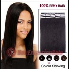 "2 packs tape-in hair extensions in the color black 100% Human Remy Hair tape-in hair extensions! These are 16"" long in the color black. New and never been used. I'm a hairstylist and changed my hair color last minute so I ordered a different color. Extremely easy to apply. Hairextensionsales is the company I ordered them from. Please do your research! You'll receive 2 packs and it comes with 20 tape-ins in each pack. Best offer accepted! The picture of me is a before and after with the…"