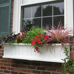 Mayne W x H White Resin Hanging Self Watering Window Box at Lowe's. Add a beautiful finishing touch under your windows or accent the edge of your patio with Mayne's Cape Cod Window Box Planters. The Cape Cod Window Fall Window Boxes, Window Box Flowers, Fall Flower Boxes, Window Ideas, Summer Flowers, Plastic Planters, Window Planter Boxes, Planter Ideas, Self Watering