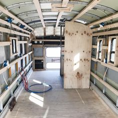 This time tomorrow, the bus will look completely different. Bring on inches of closed-cell spray foam. Bus Remodel, Rv Bus, Bus Motorhome, Bus Interior, Airstream Interior, School Bus House, Converted School Bus, Kombi Home, Bus Living