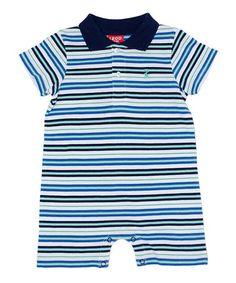Look at this #zulilyfind! Navy & Blue Stripe Romper - Infant by IZOD #zulilyfinds