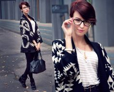 Black Batwing Long Sleeve Geometric Cardigan Sweater - Sheinside.com
