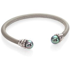 Majorica 8MM Grey Round Pearl & Leather Cuff Bracelet ($68) ❤ liked on Polyvore featuring jewelry, bracelets, apparel & accessories, leather jewelry, beaded cuff bracelet, leather pearl jewelry, gray pearl jewelry and beaded jewelry