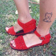 crochet sandalias de ganchillo con suela de goma