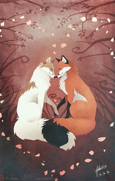 cute fox Valentine's Foxes by on Cute Animal Drawings, Kawaii Drawings, Cartoon Drawings, Cute Drawings, Anime Animals, Cute Animals, Valentines Day Drawing, Fox Drawing, Fox Illustration