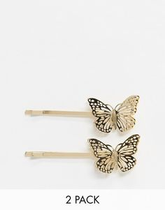 Monki Drew butterfly hair clips in gold Bandeau Large, Bandeau Torsadé, Wild Child, Butterfly Hair, Asos, Monki, Hair Clips, Topshop, Hairstyles