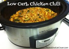 Made added some cabbage and broccoli slaw. 2 cans tomatoes. One box of chicken stock. Also used a package of shredded mex chicken I had in the freezer. Clean Eat Recipe :: Low Carb Chicken Chili ~ He and She Eat Clean No Carb Recipes, Clean Eating Recipes, Slow Cooker Recipes, Healthy Eating, Cooking Recipes, Healthy Recipes, Crockpot Meals, Eating Clean, Skinny Recipes