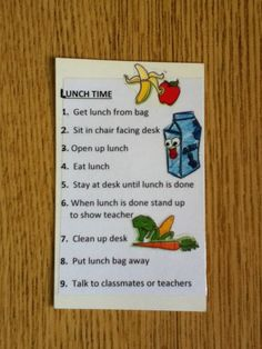 Lunch task analysis