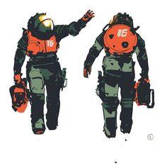 EXO suit exploration, 2015 (unused) by Calum Alexander Watt Cyberpunk Character, Cyberpunk Art, Character Concept, Character Art, Concept Art, Science Fiction, Sketch Manga, Steampunk, Sci Fi Armor