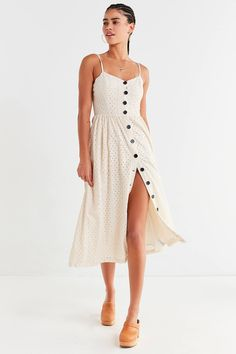 Shop UO Abbie Eyelet Button-Down Dress at Urban Outfitters today. We carry all the latest styles, colors and brands for you to choose from right here.