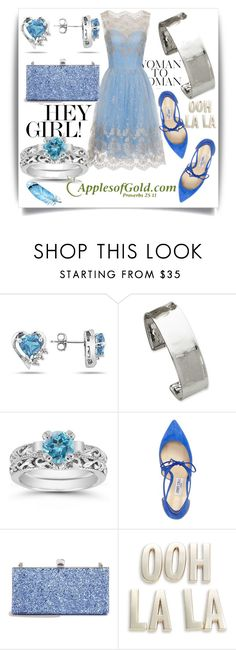 """""""White Gold Lightly-Hammered Cuff Bracelet from ApplesofGold.com!"""" by samra-bv ❤ liked on Polyvore featuring Jimmy Choo, Kate Spade and applesofgold"""