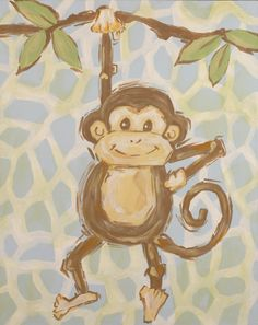 Safari Monkey Hand Painted Canvas, definitely my future children's bedroom decor!