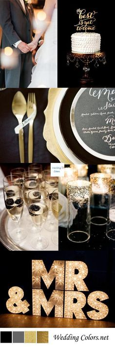 A black and gold wedding inspiration board just brimming with old Hollywood glam details. I really think this color combo is perfect for the couple wanting a classic elegant theme, especially for an indoor winter soiree