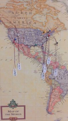 Scratch off world map students wanderlust and buckets world map stapled onto a white canvas push pins on places ive been and tags of the month and date hanging on them simple and easy room decor if youre gumiabroncs Choice Image